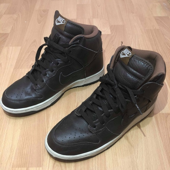 best service 3bc06 5b08f Nike dunk premium leather brown men size 10 shoes